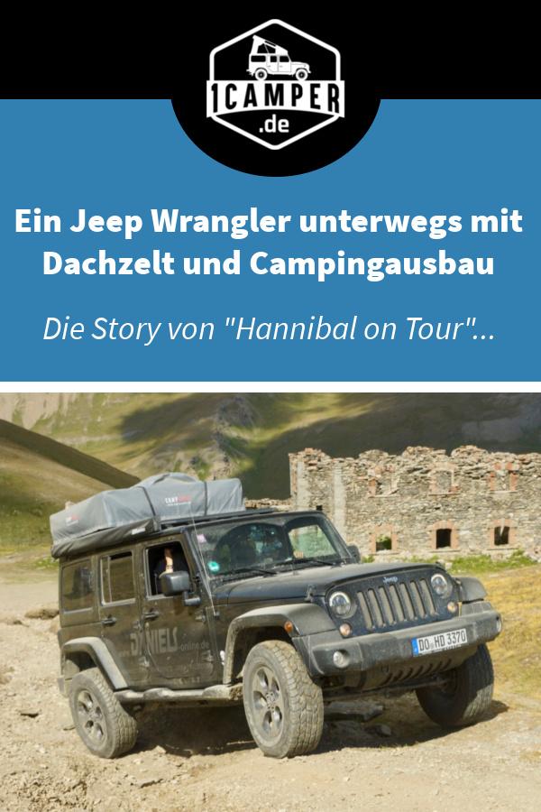 Jeep Wranger Unlimited mit Dachzelt und Campingausbau offroad unterwegs